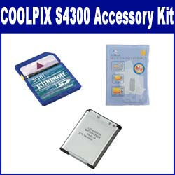 Nikon Coolpix S4300 Digital Camera Accessory Kit includes: SDENEL19 Battery, KSD2GB Memory Card, ZELCKSG Care & Cleaning