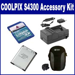 Nikon Coolpix S4300 Digital Camera Accessory Kit includes: SDENEL19 Battery, SDM-1541 Charger, KSD2GB Memory Card, SDC-21 Case