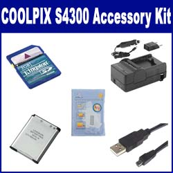 Nikon Coolpix S4300 Digital Camera Accessory Kit includes: SDENEL19 Battery, SDM-1541 Charger, KSD2GB Memory Card, USB8PIN USB Cable, ZELCKSG Care & Cleaning