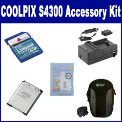 Nikon Coolpix S4300 Digital Camera Accessory Kit includes: SDENEL19 Battery, SDM-1541 Charger, KSD2GB Memory Card, SDC-21 Case, ZELCKSG Care & Cleaning