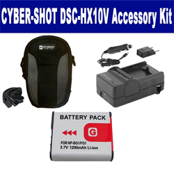 Sony Cyber-shot DSC-HX10V Digital Camera Accessory Kit includes: SDNPBG1 Battery, SDM-175 Charger, SDC-22 Case