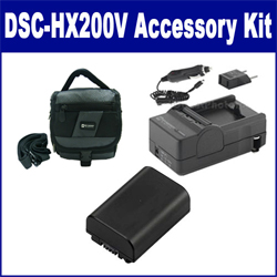 Sony DSC-HX200V Digital Camera Accessory Kit includes: SDM-109 Charger, SDNPFH50 Battery, SDC-27 Case