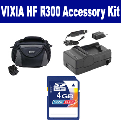 Canon VIXIA HF R300 Camcorder Accessory Kit includes: SDC-26 Case, PT77 Charger, KSD4GB Memory Card