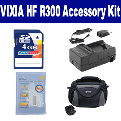 Canon VIXIA HF R300 Camcorder Accessory Kit includes: SDC-26 Case, ZELCKSG Care & Cleaning, PT77 Charger, KSD4GB Memory Card