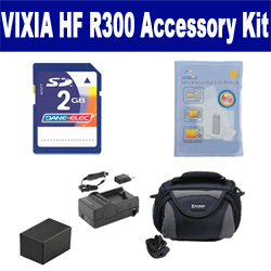 Canon VIXIA HF R300 Camcorder Accessory Kit includes: KSD2GB Memory Card, SDC-26 Case, ZELCKSG Care & Cleaning, PTBP727 Battery