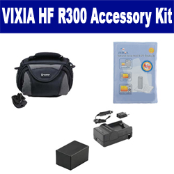 Canon VIXIA HF R300 Camcorder Accessory Kit includes: SDC-26 Case, ZELCKSG Care & Cleaning, PTBP727 Battery