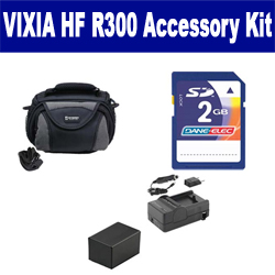 Canon VIXIA HF R300 Camcorder Accessory Kit includes: KSD2GB Memory Card, SDC-26 Case, PTBP727 Battery