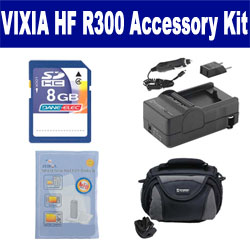 Canon VIXIA HF R300 Camcorder Accessory Kit includes: SDC-26 Case, ZELCKSG Care & Cleaning, SDM-1556 Charger, KSD48GB Memory Card