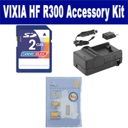 Canon VIXIA HF R300 Camcorder Accessory Kit includes: ZELCKSG Care & Cleaning, KSD2GB Memory Card, SDM-1556 Charger
