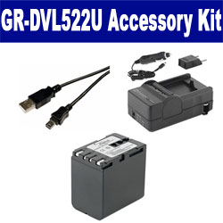 JVC GR-DVL522U Camcorder Accessory Kit includes: SDBNV428 Battery, SDM-111 Charger, USB5PIN USB Cable