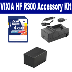 Canon VIXIA HF R300 Camcorder Accessory Kit includes: SDBP718 Battery, SDM-1556 Charger, KSD4GB Memory Card