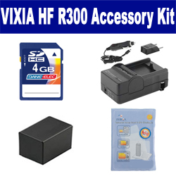 Canon VIXIA HF R300 Camcorder Accessory Kit includes: ZELCKSG Care & Cleaning, SDM-1556 Charger, SDBP718 Battery, KSD4GB Memory Card