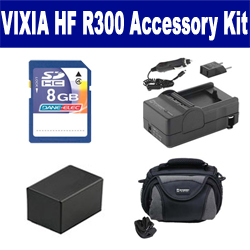 Canon VIXIA HF R300 Camcorder Accessory Kit includes: SDC-26 Case, SDM-1556 Charger, SDBP718 Battery, KSD48GB Memory Card