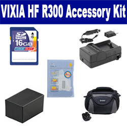 Canon VIXIA HF R300 Camcorder Accessory Kit includes: SDC-26 Case, ZELCKSG Care & Cleaning, SDM-1556 Charger, SDBP718 Battery, SD4/16GB Memory Card
