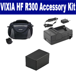 Canon VIXIA HF R300 Camcorder Accessory Kit includes: SDC-26 Case, SDM-1556 Charger, ACD786 Battery, SDM-1556 Charger, ACD786 Battery, SDM-1556 Charger, ACD786 Battery