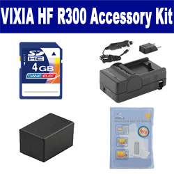 Canon VIXIA HF R300 Camcorder Accessory Kit includes: ZELCKSG Care & Cleaning, SDM-1556 Charger, ACD786 Battery, KSD4GB Memory Card