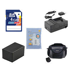 Canon VIXIA HF R300 Camcorder Accessory Kit includes: SDC-26 Case, ZELCKSG Care & Cleaning, SDM-1556 Charger, ACD786 Battery, KSD4GB Memory Card