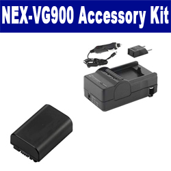 Sony NEX-VG900 Camcorder Accessory Kit includes: SDM-109 Charger, SDNPFV50NEW Battery