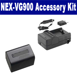 Sony NEX-VG900 Camcorder Accessory Kit includes: SDM-109 Charger, SDNPFV70NEW Battery