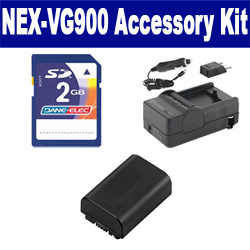 Sony NEX-VG900 Camcorder Accessory Kit includes: SDM-109 Charger, KSD2GB Memory Card, SDNPFV50NEW Battery