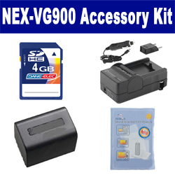 Sony NEX-VG900 Camcorder Accessory Kit includes: SDM-109 Charger, ZELCKSG Care & Cleaning, SDNPFV70NEW Battery, KSD4GB Memory Card