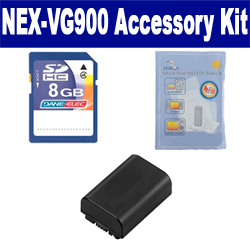 Sony NEX-VG900 Camcorder Accessory Kit includes: SDNPFV50NEW Battery, ZELCKSG Care & Cleaning, KSD48GB Memory Card