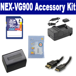 Sony NEX-VG900 Camcorder Accessory Kit includes: SDM-109 Charger, HDMI3FM AV & HDMI Cable, ZELCKSG Care & Cleaning, SDNPFV70NEW Battery, SD4/16GB Memory Card