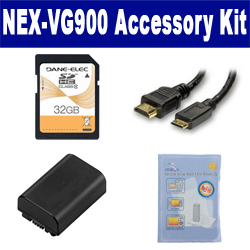 Sony NEX-VG900 Camcorder Accessory Kit includes: SDNPFV50NEW Battery, HDMI3FM AV & HDMI Cable, ZELCKSG Care & Cleaning, SD32GB Memory Card