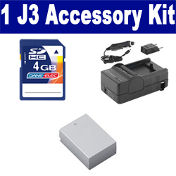 Nikon 1 J3 Digital Camera Accessory Kit includes: SDENEL20 Battery, SDM-1549 Charger, KSD4GB Memory Card