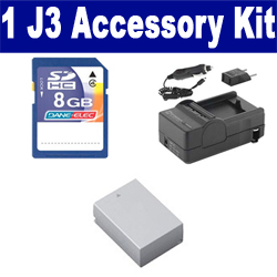 Nikon 1 J3 Digital Camera Accessory Kit includes: SDENEL20 Battery, SDM-1549 Charger, KSD48GB Memory Card