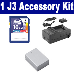 Nikon 1 J3 Digital Camera Accessory Kit includes: SDENEL20 Battery, SDM-1549 Charger, SD4/16GB Memory Card