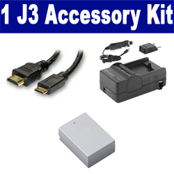 Nikon 1 J3 Digital Camera Accessory Kit includes: SDENEL20 Battery, SDM-1549 Charger, HDMI6FM AV & HDMI Cable