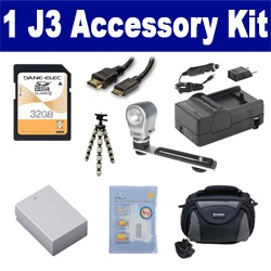 Nikon 1 J3 Digital Camera Accessory Kit includes: SDENEL20 Battery, SDM-1549 Charger, SD32GB Memory Card, SDC-26 Case, HDMI6FM AV & HDMI Cable, ZELCKSG Care & Cleaning, ZE-VLK18 On-Camera Lighting, GP-22 Tripod