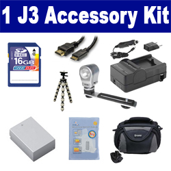 Nikon 1 J3 Digital Camera Accessory Kit includes: SDENEL20 Battery, SDM-1549 Charger, SD4/16GB Memory Card, SDC-26 Case, HDMI6FM AV & HDMI Cable, ZELCKSG Care & Cleaning, ZE-VLK18 On-Camera Lighting, GP-22 Tripod