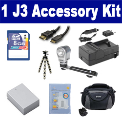 Nikon 1 J3 Digital Camera Accessory Kit includes: SDENEL20 Battery, SDM-1549 Charger, KSD48GB Memory Card, SDC-26 Case, HDMI6FM AV & HDMI Cable, ZELCKSG Care & Cleaning, ZE-VLK18 On-Camera Lighting, GP-22 Tripod