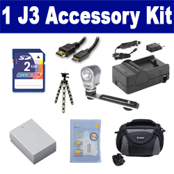 Nikon 1 J3 Digital Camera Accessory Kit includes: SDENEL20 Battery, SDM-1549 Charger, KSD2GB Memory Card, SDC-26 Case, HDMI6FM AV & HDMI Cable, ZELCKSG Care & Cleaning, ZE-VLK18 On-Camera Lighting, GP-22 Tripod