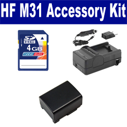 Canon HF M31 Camcorder Accessory Kit includes: SDBP809 Battery, SDM-1503 Charger, KSD4GB Memory Card