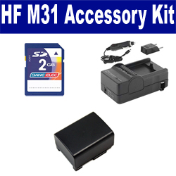 Canon HF M31 Camcorder Accessory Kit includes: SDBP809 Battery, SDM-1503 Charger, KSD48GB Memory Card