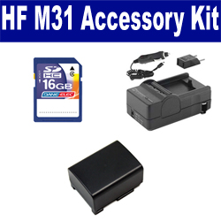 Canon HF M31 Camcorder Accessory Kit includes: SDBP809 Battery, SDM-1503 Charger, SD4/16GB Memory Card