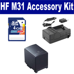 Canon HF M31 Camcorder Accessory Kit includes: SDBP819 Battery, SDM-1503 Charger, KSD4GB Memory Card
