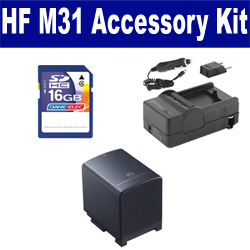 Canon HF M31 Camcorder Accessory Kit includes: SDBP819 Battery, SDM-1503 Charger, SD4/16GB Memory Card