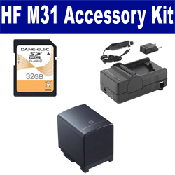 Canon HF M31 Camcorder Accessory Kit includes: SDBP819 Battery, SDM-1503 Charger, SD32GB Memory Card
