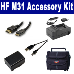 Canon HF M31 Camcorder Accessory Kit includes: SDBP809 Battery, SDM-1503 Charger, ST80 Case, USB5PIN USB Cable, HDMI6FM AV & HDMI Cable