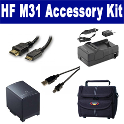 Canon HF M31 Camcorder Accessory Kit includes: SDBP819 Battery, SDM-1503 Charger, ST80 Case, USB5PIN USB Cable, HDMI6FM AV & HDMI Cable