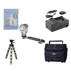 Canon HF M31 Camcorder Accessory Kit includes: SDM-1503 Charger, ST80 Case, ZELCKSG Care & Cleaning, ZE-VLK18 On-Camera Lighting, GP-22 Tripod