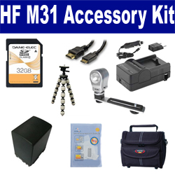 Canon HF M31 Camcorder Accessory Kit includes: SDBP827 Battery, SDM-1503 Charger, ST80 Case, HDMI6FM AV & HDMI Cable, ZELCKSG Care & Cleaning, ZE-VLK18 On-Camera Lighting, GP-22 Tripod, SD32GB Memory Card