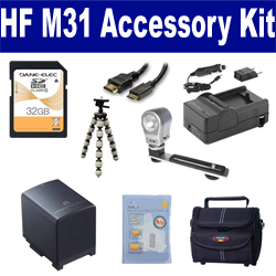 Canon HF M31 Camcorder Accessory Kit includes: SDBP819 Battery, SDM-1503 Charger, ST80 Case, HDMI6FM AV & HDMI Cable, ZELCKSG Care & Cleaning, ZE-VLK18 On-Camera Lighting, GP-22 Tripod, SD32GB Memory Card