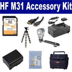 Canon HF M31 Camcorder Accessory Kit includes: SDBP809 Battery, SDM-1503 Charger, ST80 Case, HDMI6FM AV & HDMI Cable, ZELCKSG Care & Cleaning, ZE-VLK18 On-Camera Lighting, GP-22 Tripod, SD32GB Memory Card