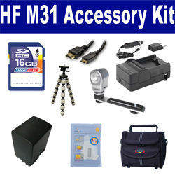 Canon HF M31 Camcorder Accessory Kit includes: SDBP827 Battery, SDM-1503 Charger, ST80 Case, HDMI6FM AV & HDMI Cable, ZELCKSG Care & Cleaning, ZE-VLK18 On-Camera Lighting, GP-22 Tripod, SD4/16GB Memory Card