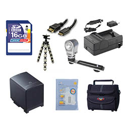 Canon HF M31 Camcorder Accessory Kit includes: SDBP819 Battery, SDM-1503 Charger, ST80 Case, HDMI6FM AV & HDMI Cable, ZELCKSG Care & Cleaning, ZE-VLK18 On-Camera Lighting, GP-22 Tripod, SD4/16GB Memory Card